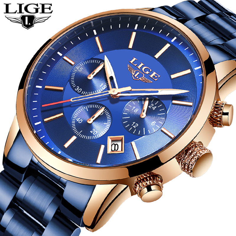 LIGE Mens Watches Top Brand Luxury Blue Steel Quartz 2020 Chronograph Waterproof Watch Business Full Steel Men Watch Blue Clock