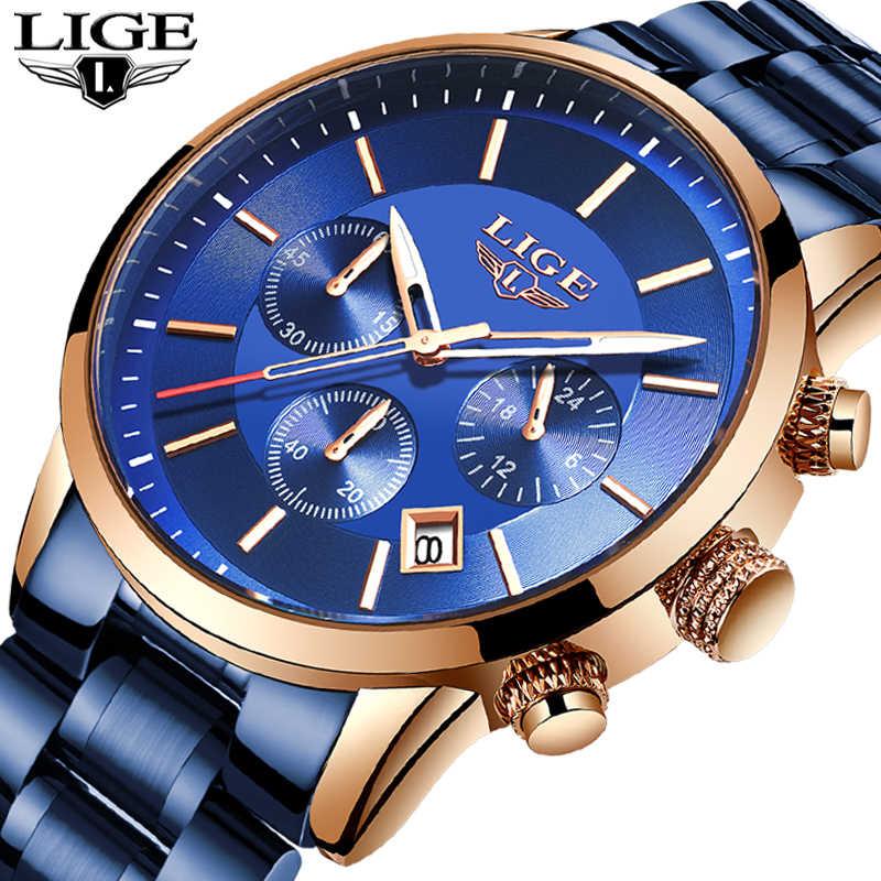 ליגע Mens שעונים למעלה מותג יוקרה כחול פלדת קוורץ 2020 הכרונוגרף עמיד למים שעון עסקי פלדה מלאה גברים שעון כחול שעון