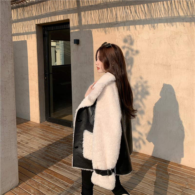 H367d211d7cb948ecaa3d1b7dc28fa0a3J Winter Women High Quality Fur Coat Loose Collar Design Integrated Long Splicing Single-breasted Cotton-padded Pocket Jackets