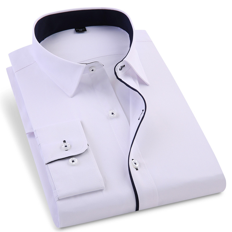 2019 Smart Casual Men's Long Sleeved Shirt Slim Fit Design Style Male Social Business Dress Shirts High Quality Clothing