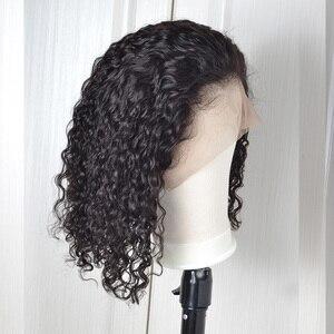 Peluca brasileña Jerry Curl de encaje rizado frente pelucas de cabello humano peluca Frontal de encaje corto Bob Pre desplumado con pelo de bebé