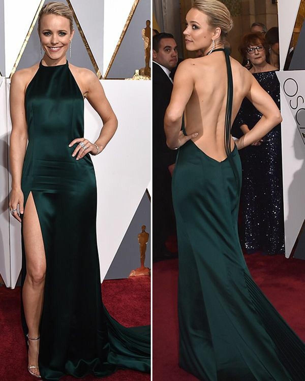 Sexy Long Halter Green Backless Celebrity Dresses with Slit Mermaid Robe De Soiree Floor Length Satin Formal Dresses for Women