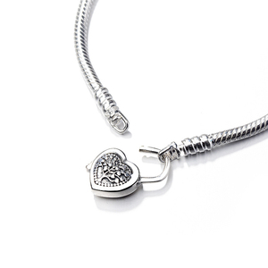 European Heart Love Key s925 Bracelet Snake Chain Bangle Original Charm Bracelets For Girl Women Lady DIY Jewelry Gift Making