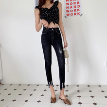 JUJULAND woman casual jeans hole high waists pencil pants ankle-length skinny autumn beautiful  8552