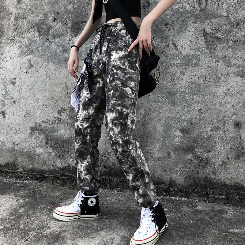 Tie Dyeing Camo Cargo High Waist Hip Hop Trousers   Pants   Military Army Combat Camouflage Long   Pants   Hot   Capris