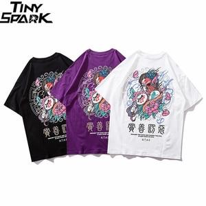 Image 3 - Camiseta de algodón de manga corta para hombre, ropa de calle con estampado del bien y el mal de Hip Hop, camiseta de personaje chino Harajuku, 2020