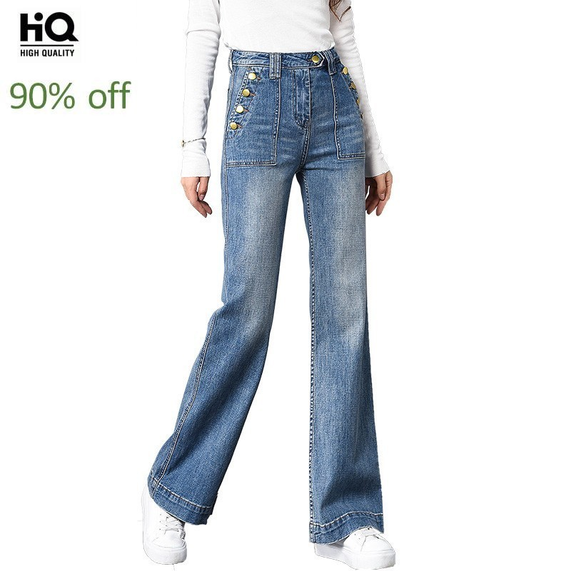 2020 Straight Buttons Loose High Waist Slim Fit Flare Pants Jeans Korean Fashion Full Length Trousers Top Quality Denim Pants