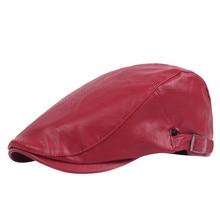 Модный крутой мужской киоск Берет шапочка джентльменский Стиль PU кожаный берет теплая шапка зимняя мягкая однотонная плоский Берет шляпы