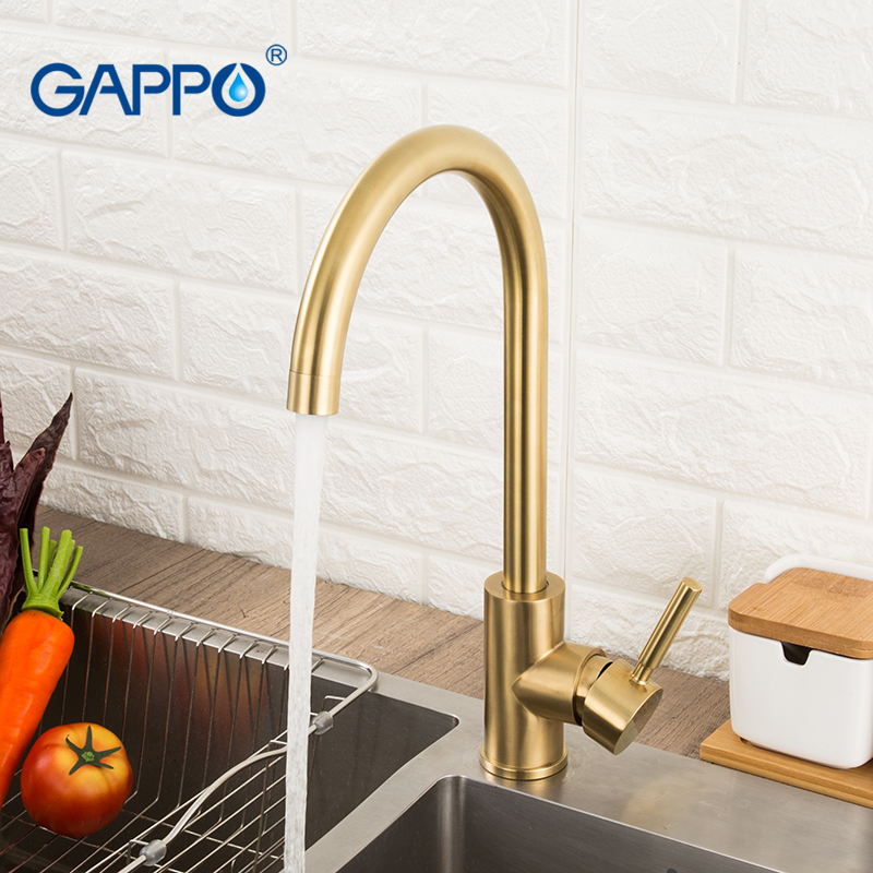 Lowered GAPPO kitchen faucets Brushed gold kitchen mixer tap stainless steel water taps deck mounted kitchen waterfall sink faucet 4000179485580