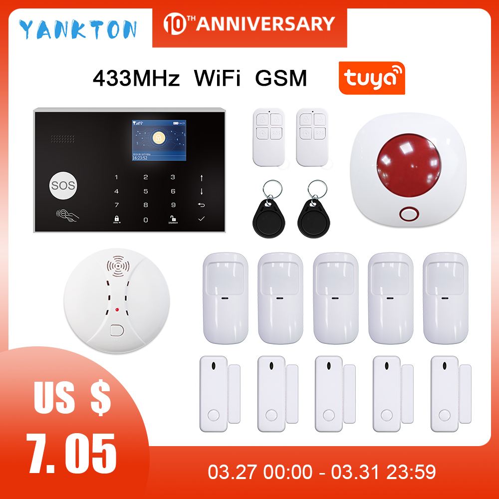 Tuya 433MHz Wired WIFI GSM Alarm System For IOS Android APP Remote Control Wireless Home Security&Burglar Alarm System Kit