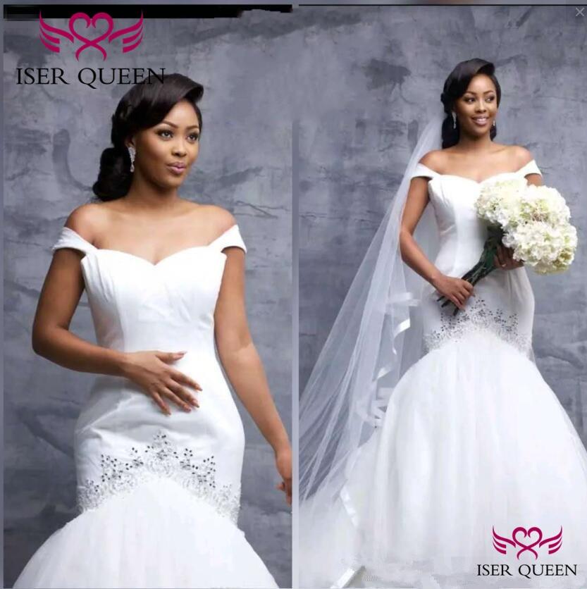 Cap Sleeves Crystal Soft Satin Embroidery Pure White Mermaid Wedding Dresses Brazil Fashion Bridal Gown Vestido De Novia W0606