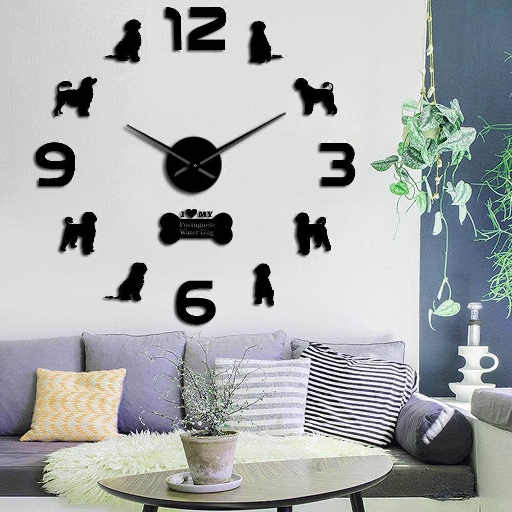 Horloge murale avec grand chien deau portugais, horloge murale en acrylique 3D, autocollants miroir, décoration PWD Geek, DIY bricolage