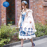 Manluyunxiao Winter Sweet Lolita Cloak Vintage Plus Velvet Thickening Warm Kawaii Coat Cute Bowknot Fluff Ball Kawaii Girl Cape