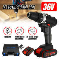 36V 5000mAh Cordless Electric Drill 25-Speed Torque Adjustment Rechargeable Battery Double Speed LED Screwdriver