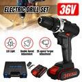 Broca elétrica sem fio de 36 v 5000 mah ajuste de torque de 25 velocidades bateria recarregável dupla velocidade chave de fenda led