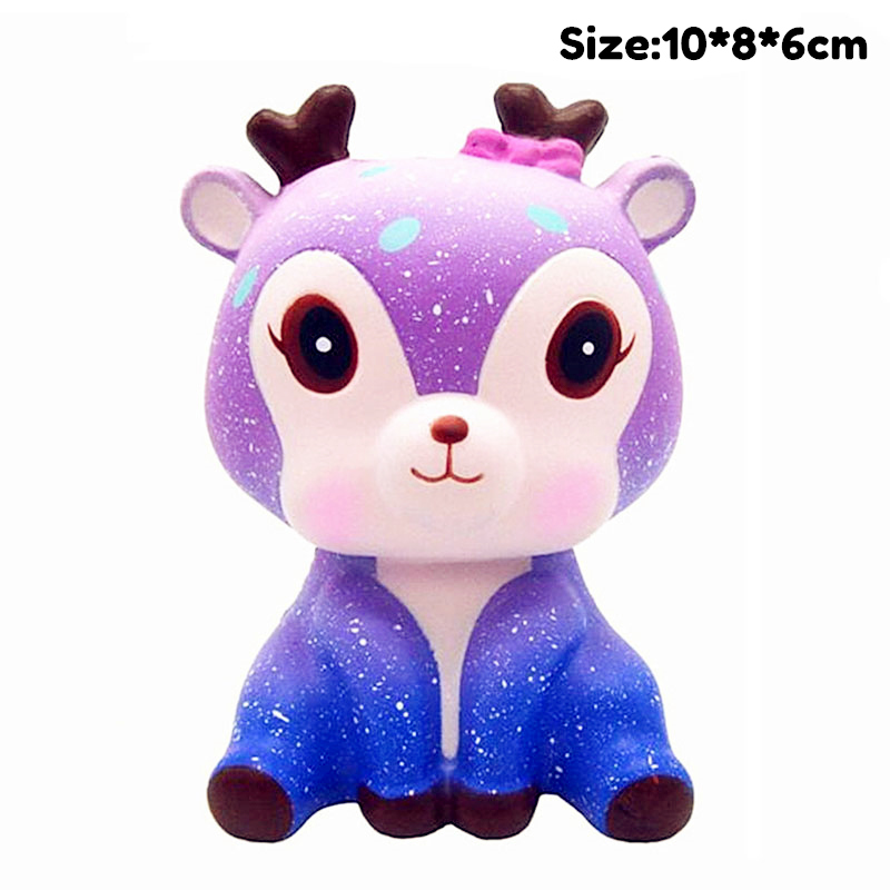 Kawaii Elk Slow Rising Simulation Animal Shark Unicorn Squishy Toy Anti Stress Reliever Soft Squeeze Xmas Gift Toys For Children