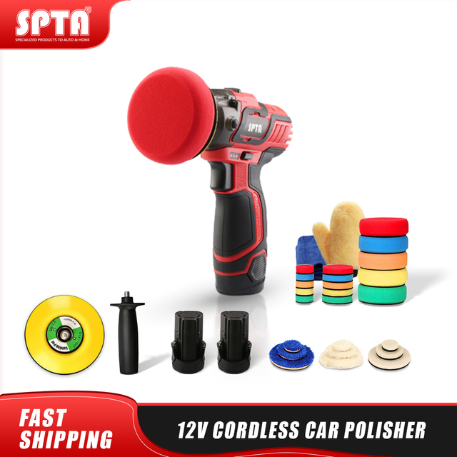 SPTA 12V Cordless Car Polisher Tool Sets,Cordless Drill Driver Variable Speed Polisher,1500mAh Li ion Battery with Fast Charger