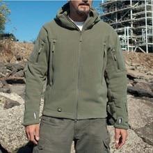Военная Тактическая уличная мягкая оболочка флисовая куртка мужская армейская Polartec Спортивная термальная охотничья спортивная куртка с капюшоном
