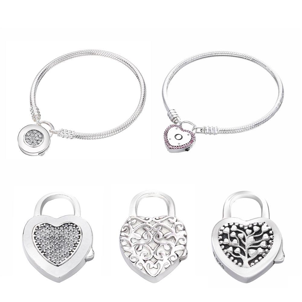 Authentic 100% 925 Sterling Silver Bracelet Love Valentine's Day Bracelet Women Pandoras Romantic Gift Jewelry