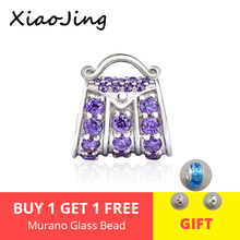 Aliexpress fashion luxury handbag charms with purple CZ stone 925 silver beads fit original pandora bracelets diy Jewelry Gifts стоимость