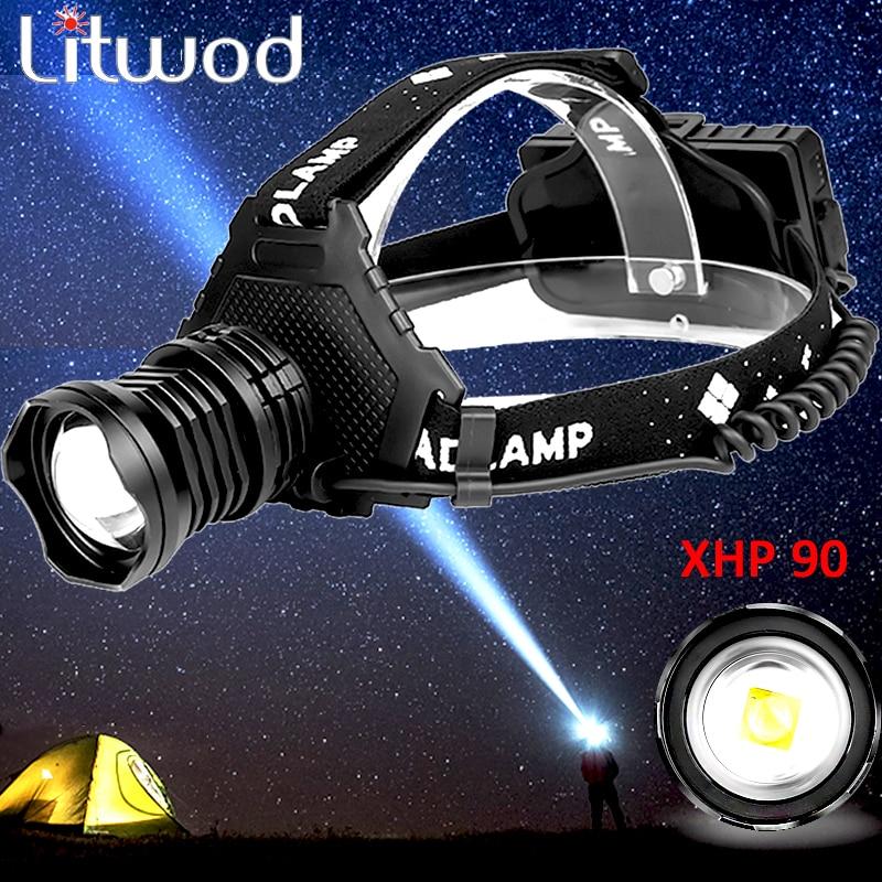 Z15 2064 XHP90 Led Headlamp Headlight The Most Powerful 32W 8000lm Head Lamp Zoom Power Bank 7800mAh 18650 Battery