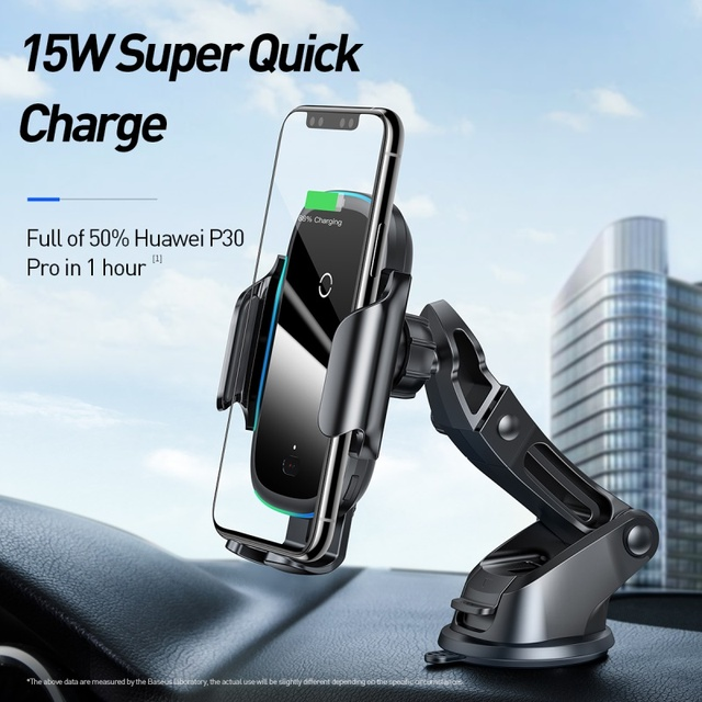 Baseus Qi Car Wireless Charger for iPhone 11 Samsung Xiaomi 15W Induction Car Mount Fast Wireless Charging with Car Phone Holder