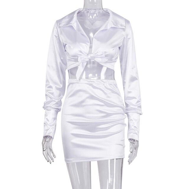Satin soyeux 2 deux pièces ensemble femmes 2020 à lacets à manches longues haut court taille haute Mini jupe ensemble tenues Sexy