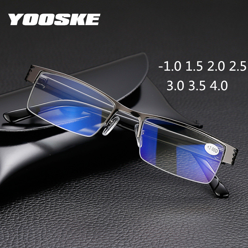 YOOSKE Metal Finished Myopia Glasses Men Blue Film Half Frame  Eyeglasses Short Sighted Eyewear -1.0 1.5 2.0 2.5 3.0 3.5 4.0