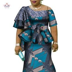 Africano Increspature Del Manicotto di Stampa Magliette E Camicette E Skirt Set per Le Donne Bazin Riche Africano Abbigliamento 2 Pezzi Personalizzare Gonne Set WY4392