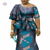 Afrikanische Rüschen Hülse Drucken Tops und Rock Sets für Frauen Bazin Riche Afrikanischen Kleidung 2 Stück Anpassen Röcke Sets WY4392