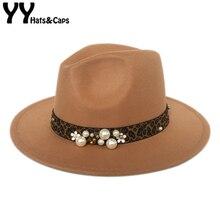 YY Leopard Ribbon Fedora Hat for Women Autumn Pearl Felt Hat Vintage Jazz Hats L