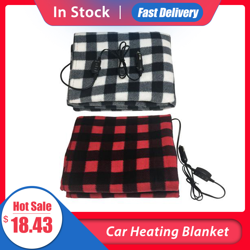 145*100cm Car Heating Blanket Winter Heated 12V Lattice Energy Saving Warm Auto Electrical Blanket For Car Constant Temperature