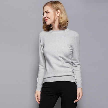 Mlcriyg Sweater Wanita Rajutan Lengan Panjang Solid Gadis Sweater Pullover Tops Blus Shirt Baru Kasual Knit Tops LX339