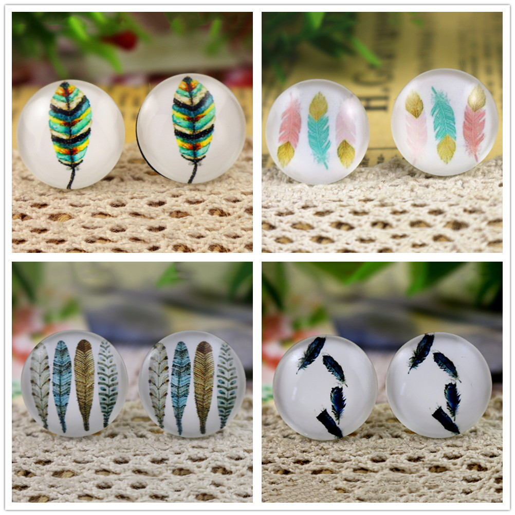 2018 Hot Sale 10pcs 20mm Feather Wings Handmade Photo Glass Cabochons