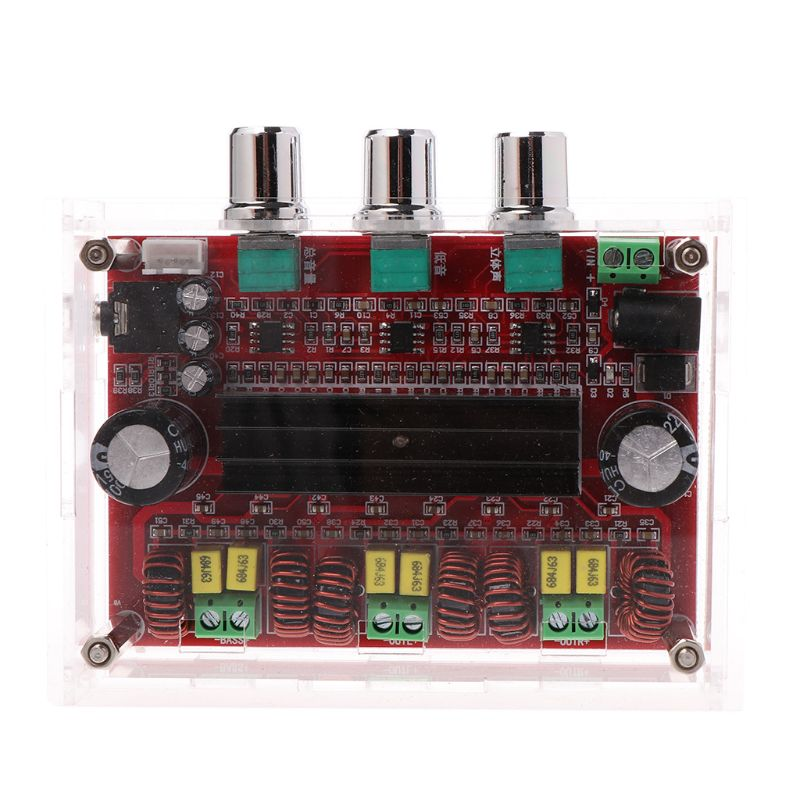 <font><b>TPA3116</b></font> <font><b>D2</b></font> 12-24V 50Wx2+100W <font><b>2.1</b></font> Subwoofer Power Channel Digital Audio Amplifier Board with Acrylic Shell LX9A image