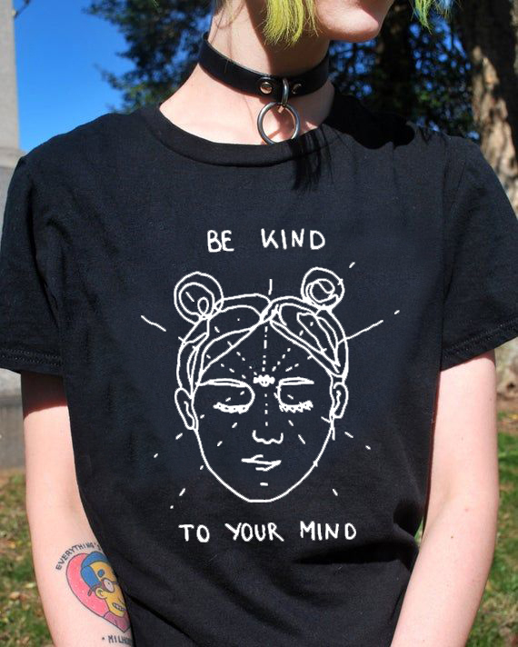 Be Kind To Your Mind T-Shirt Funny Mind Harajuku 100% Cotton Grunge Tee Korean Stylish Aesthetic Tops <font><b>art</b></font> <font><b>tshirts</b></font> image