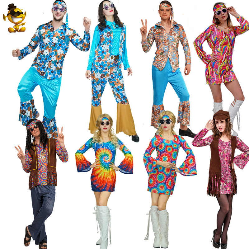 Christmas Adult Lover 60's70's Hippie Costume Role Play Flower Hippie Cosplay  Women&Men Disco Hippie Costume For Purim Party