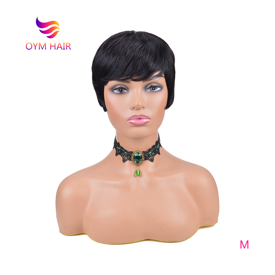 OYM HAIR Short Straight Pixie Cut Human Hair Wig With Bangs Brazilian Remy Human Hair Wigs For Black Women 150% Full Wig