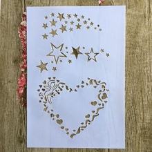 A4 29 * 21cm Heart Pentagram DIY Stencils Wall Painting Scrapbook Coloring Embossing Album Decorative Paper Card Template