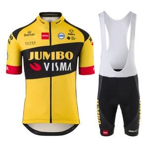 Jumbo Visma Team AGU Uifit 2020 Cycling Jersey Suit Shirts Clothing Bike Set Ciclismo Ropa Jacket Bib Shorts Maillot Bicycle Kit(China)