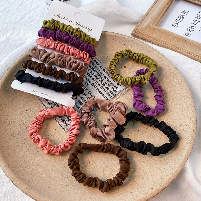 Free Shipping Fashion Ins Satin Women Hair Scrunchies Color Mini Girl's Hairbands Ponytail Holder Hair Accessories