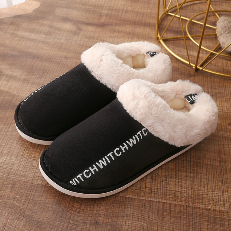 Dropshipping Men Winter Warm Indoor Slippers 2019 Adults Women Letter Printed Plush Flip Flops Home Shoes Cotton Home Slippers