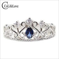 CoLife Jewelry 925 Silver Sapphire Crown Ring for Young Girl 4mm*6mm Natural Sapphire Ring Silver Crown Ring Gift for Girl