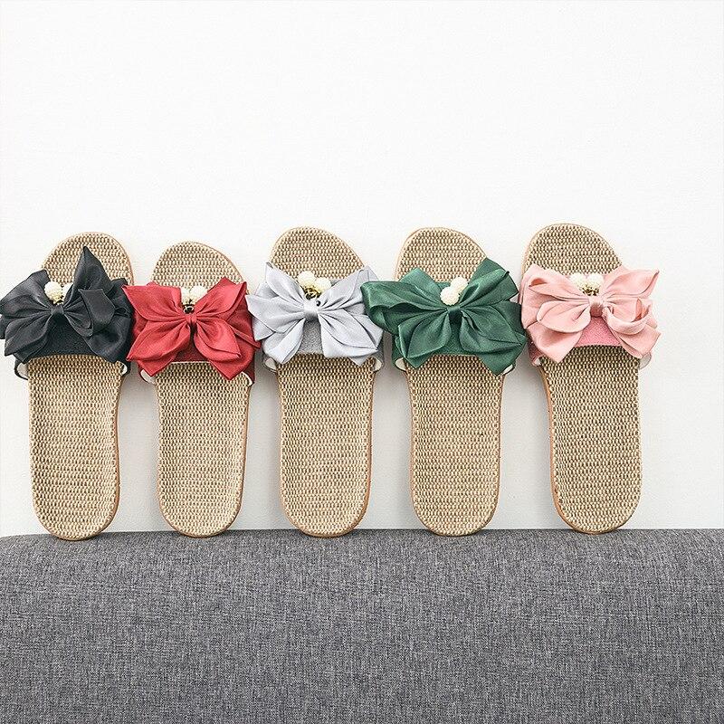 Suihyung Summer Women Slippers Bohemia Outdoor Beach Shoes Sweet Silk Bow Pearls Flat Platform Sandals Non-slip Flax Flip Flops
