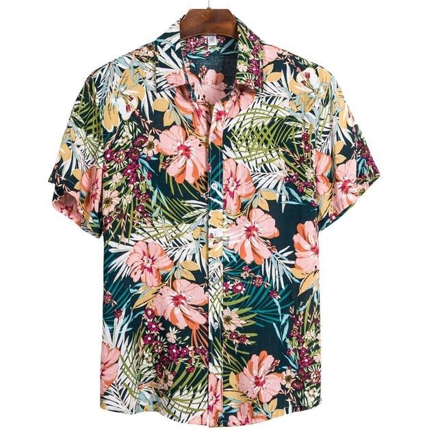 summer men Hawaiian shirts flower short sleeve Social camisa masculina men Plus Size shirt 2020 chemise homme