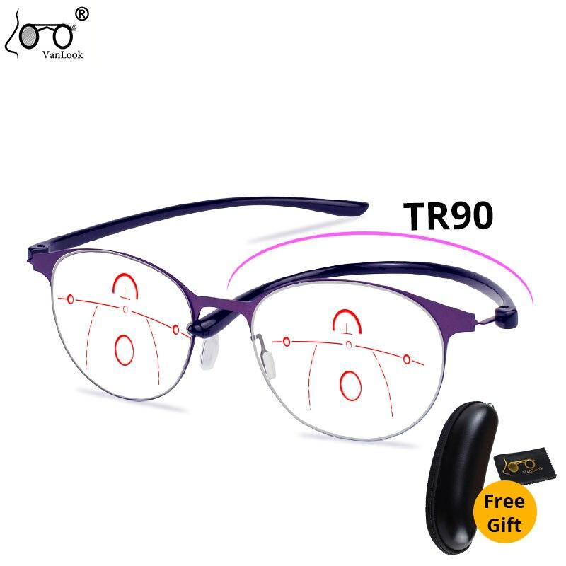 Мультифокальные Прогрессивные очки Для женщин Анти Blue Ray компьютерные очки из ближнего и дальнего + 1,0 1,5 2,0 2,5 3,0 3,5 4,0