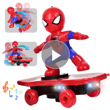 Party Favors Revengers Marvels Spider Man Electronic Toy Stunt Scooter Automatic Flip Music Electric Skateboard Car Kids