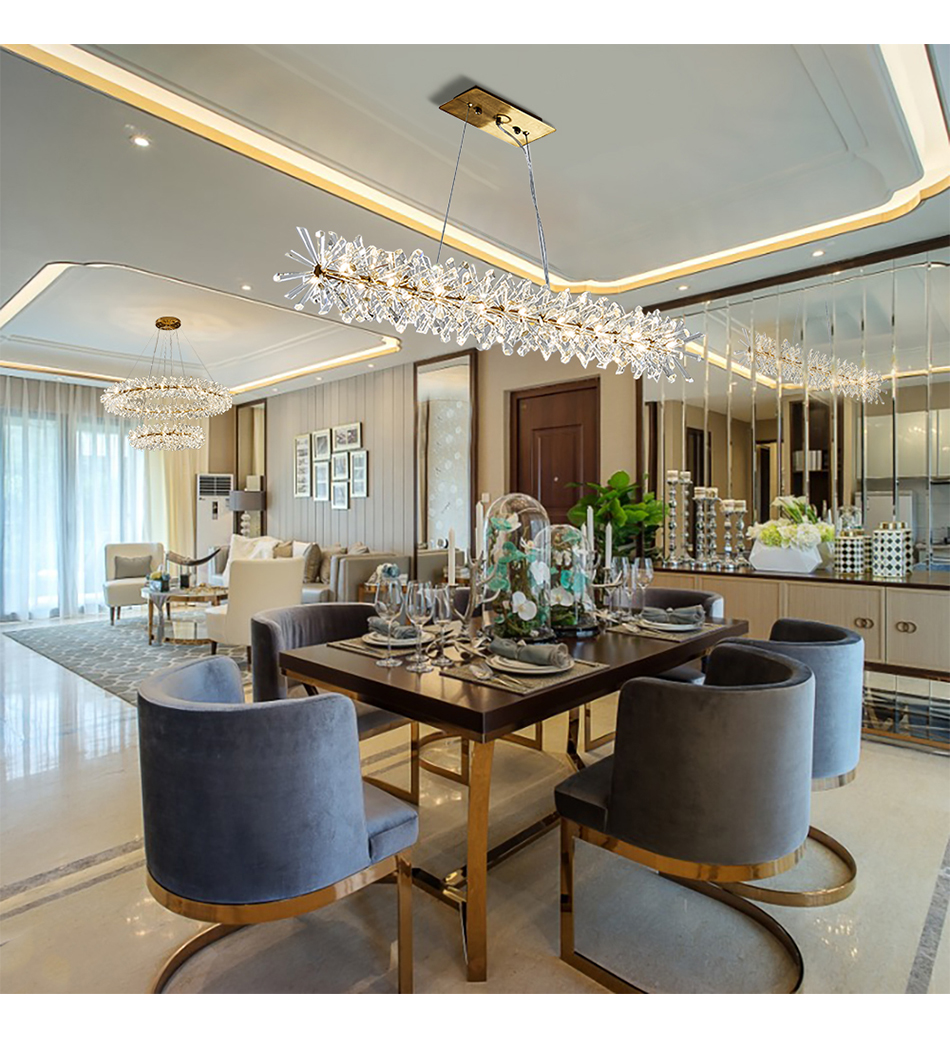 Sala Da Pranzo Country Chic us $451.0 45% off|yoogee luxury modern chandelier lighting for dining room  crystal led chandeliers kitchen island decor lamps lustres de