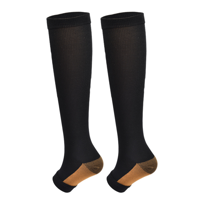 New Compression Men Sport Socks Knee High Long Stockings Compression Underwear Open Toes Breathable Shaping Autumn Men Gift