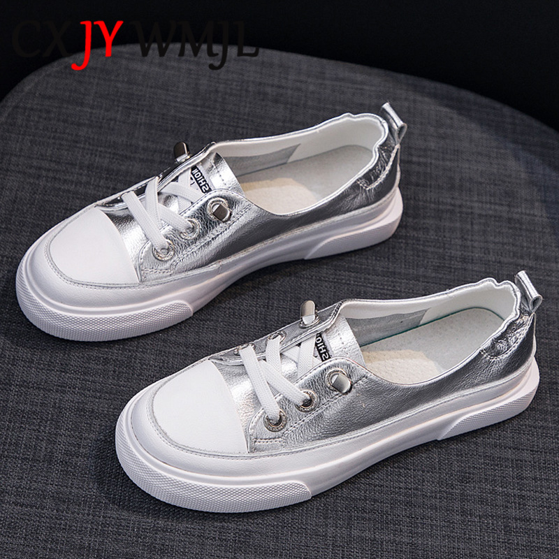 Large Size Women Sneakers Autumn Leather Vulcanized Shoes Fashion Woman Casual Sneaker Spring Breathable Silver lacing Flat Shoe|Women's Vulcanize Shoes| - AliExpress